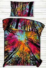 Bedding Twin Size Duvet Cover Forest Tree Multi Color Cotton Hippie Indian Art