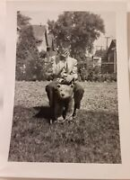Vintage Old 1940's Funny Photo Embarrassed Boy Covers Face Sits on Teddy Bear 🐻