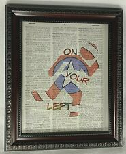 """Marvel Captain America Inspired Dictionary Print Art with Quote """"on Your Left"""""""