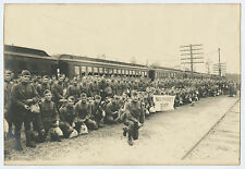 WWI Buck Private's Society Many Soldiers in Uniform Departing at Train Station