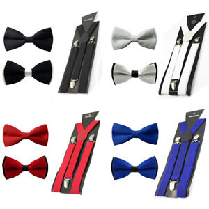 Men Solid Pre-tied Bowtie Bow Tie Elastic Y-Back Suspender Clip On Brace Set