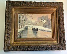 Antique 19th impressionist oil painting, signed, framed, winter landscape