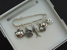'I LOVE MY CAT' THEME Silver Tone Kilt Pin charm Brooch Cat Pet Birthday Gift