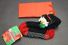 1 PAIR KIDS Non Slip RUBBER Slipper Socks Ankle 4-6 BLACK KNIT BLACK CHRISTMAS
