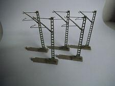 Märklin 7009, Steck-Mast für Oberleitung, M-Gleis Sockel, 5 Stück, Guter Zustand