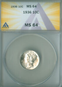 1936 MERCURY DIME ANACS MS-64 FREE S/H (2127158)