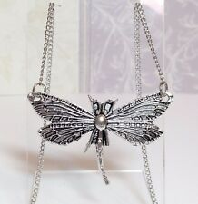 """DRAGONFLY_Pendant on 18"""" Chain Necklace_Insect Wing Butterfly Boho Silver_44N"""