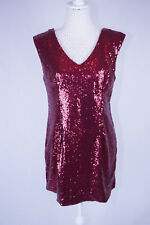 Xmas Party Dress / Long Line Top Red Sequin Size 12 Sleeveless Short Length NEW