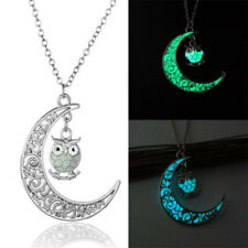 Glow in the Dark Owl Pendant Necklace Luminous Galaxy Moon Necklace Jewelry