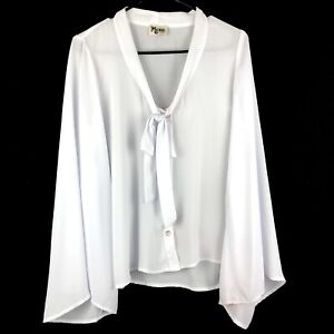 Show Me Your Mumu Brynn Blouse White Top Womens XS Bell Sleeve V-Neck Tie EUC