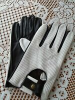 Stylish Mens Dark Brown/White Soft Leather Driving Glove From Lorenz New Large