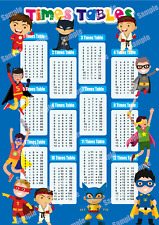 TIMES TABLES POSTER MATHS EDUCATIONAL WALL CHART, BOYS KIDS CHILDS A4 / A3