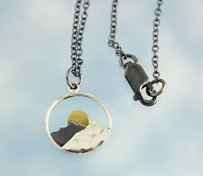 Mountain Sunset Necklace- sterling silver mountain & sun charm, sterling chain