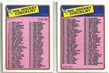 1988-89 O-PEE-CHEE Hockey 2-card Checklist Lot  #'s 99 & 198