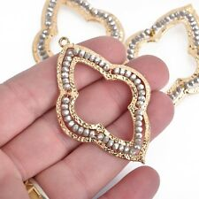 """2 Gold QUATREFOIL Beaded Charms, GRAY Crystals, Connector, 2.25"""" chs3976"""