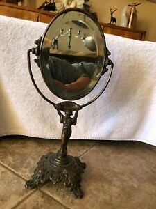 """Antique  Art Deco Cast Brass Beveled Mirror Stand Lady Figural  16 1/2"""" tall  BH"""