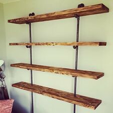Rustic Reclaimed Solid Wood / Scaffold Board Industrial Style Bookcase / Shelves