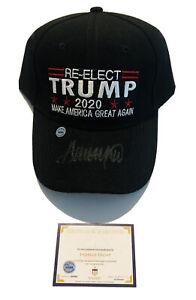 Rare 2020 Black Edition Re-Elect Donald Trump Autographed Signed MAGA Hat w/COA!