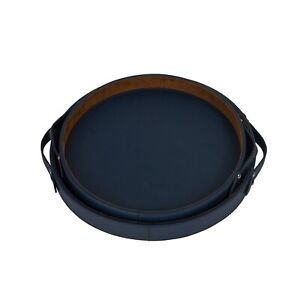 DFR Classic Leatherette Round Shaped Serving Trays Set of 2
