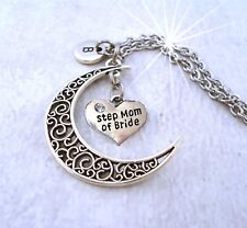 Step Mom of  Bride Necklace, Step Mom of the Bride Filigree Crescent Moon