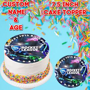 "Personalised 7.5"" Rocket League Custom Name Edible Icing Cake Topper Birthday"