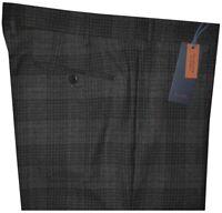 $450 NEW ZANELLA PARKER CHARCOAL & BLUE-BLACK PLAID 120'S WOOL DRESS PANTS 38