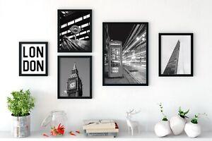 London Black & White Wall Art Set of 5 Prints Living Dining Room Bedroom Hallway