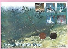 Mercury 1998 FDC - TREASURES Salvage COIN COVER - LIGHTHOUSES  Shs PLYMOUTH