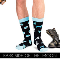Novelty Wolf & Moon Odd Socks - Perfect Gift Idea 'BARK SIDE OF THE MOON'