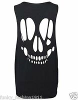 Ladies Womens Back Laser Cut Out Skull Sleeveless Open Back T Shirt Top Vest