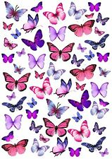 PINK & PURPLE BUTTERFLY Wafer Rice Paper Cupcake Toppers EDIBLE CAKE Butterflies