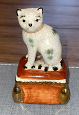 Fitz & Floyd Staffordshire Style Cat Small Porcelain Trinket Box 3 Inch 1981