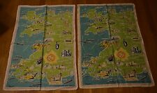 2 Vintage Cromlech Irish Linen Tea Towels Ireland Map Landmark Tourist Souvenir