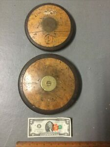 2 Vintage Wood and Metal Discus Made in Sweden
