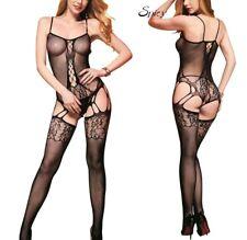 Combinaison sexy résille Bodystocking noir catsuits femme