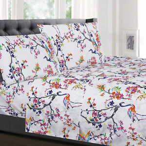 Botanical Pastel Floral Printed 4-Piece 1500 Supreme Collection Sheet Set