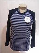 AIGLE Mens 100% Wool M Sport Sweater Shirt Crewneck Striped Navy Blue Gray $99