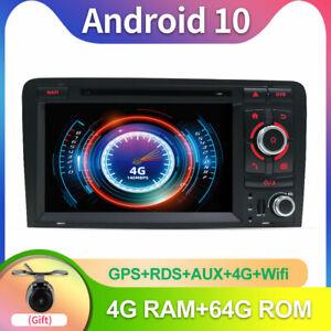 Autoradio 4GB+64GB Android 10 Per Audi A3 8P S3 RS3 Sportback AUX DVD Wifi BT FM