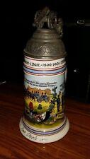 Ceramic German Regimental Military Beer Stein Lidded Cannon Finial & Lithophane