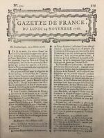 Révolte à Boston USA 1768 Fort Guillaume Halifax Malte Parma Italie Rare Journal