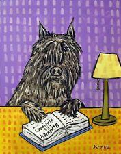 Library art bouvier des flandres dog 11x14 Print poster gift modern folk art