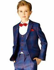 ELPA Boys Suit Classic Plaid Six Pieces Slim Fit Size 14 Free Garment Bag NEW