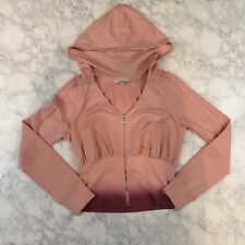 Express Crop Zip-up Hooded Sweater Jacket Pink Purple Ombre Large L