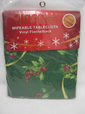 New Christmas Wipeable Tablecloth Vinyl Flannelback Green Holly 132cm x 178cm
