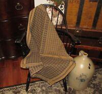 """Prm Antique Vtg Style Blk Richburg Weave Cotton Woven 32"""" COVERLET Square AQ91SS"""