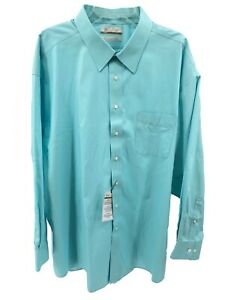 Men's Dress Shirt Size 16.5 34 Fitted Aqua Blue Gold Label Roundtree Yorke New