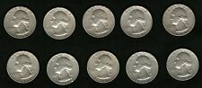 Lot of 10 Silver Coins US George Washington Silver Quarters Year: 1964