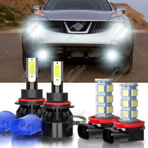 For Nissan Juke 2011 -2014 - 4X 6000K LED Headlight Hi/Lo Beam + Fog Light Bulbs