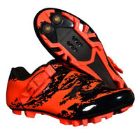 MTB Bike Shoes Mountain Bike Indoor Cycling Fits SPD Cleat 2 Bolt Pedals Red