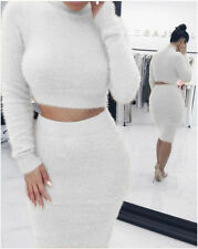 Womens Ladies 2 Piece Long Sleeve Bodycon Crop Tops Sweater + Skirt Dress Outfit